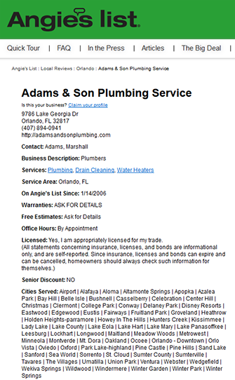 adams and son plumbing angie's list