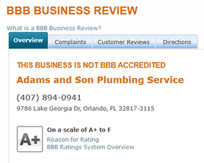 adams and son plumbing bbb business review
